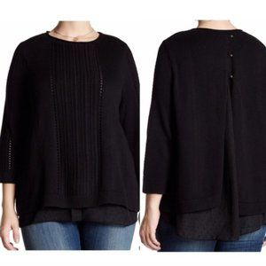 LUCKY BRAND Black Cutout 3/4 Sleeve Twofer Sweater
